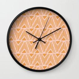 mala, african tribal pattern tangerine Wall Clock
