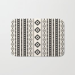 Aztec Black on Cream Mixed Motifs Pattern Bath Mat