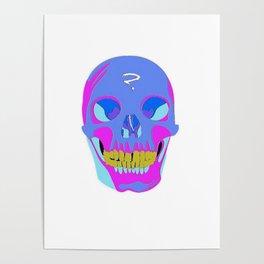 Neon Pixel Psychaedelic Halloween Skull  Poster