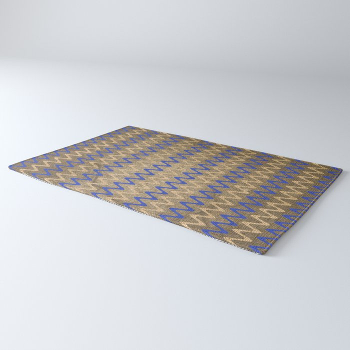 Blue and Tan Zigzag Stripes on Grungy Brown Burlap Graphic Design Rug