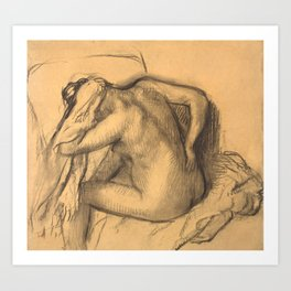 After the Bath, Woman Drying Her Hair Art Print