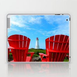 Lighthouse and chairs in Red White and Blue Laptop & iPad Skin