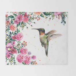 Hummingbird and Flowers Watercolor Animals Throw Blanket