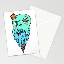 Double Scoop Sugar Skull Ice cream, green and blue Stationery Cards