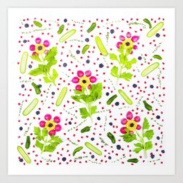 Fruits and vegetables pattern (15) Art Print