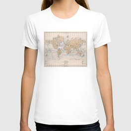Vintage Map of The World (1884) T-shirt