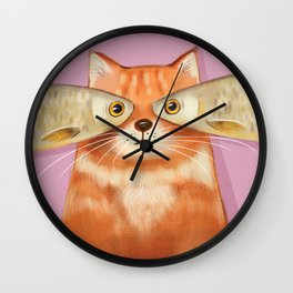 Creative Fish Eye Fat Ginger Cat Home Decor, Wall Art, Phone Cover, Laptop skin Digital Art Print Fo Wall Clock
