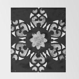Silver and White Mandala Watercolor Throw Blanket
