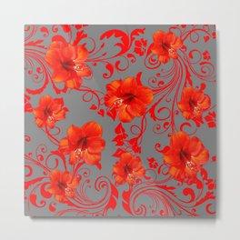 ORANGE-RED AMARYLLIS BROCADE FLORAL GREY ART Metal Print
