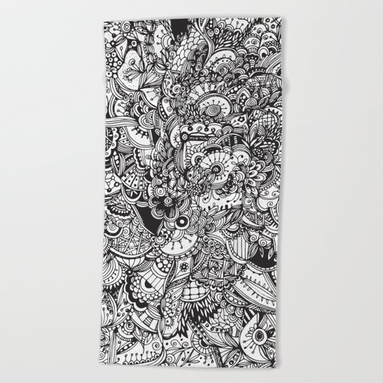 Detailed rectangle, black and white  Beach Towel