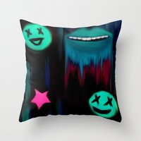 punk Throw Pillows featuring Punk by Angelz