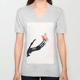 Butterfly on Skeleton Hand Unisex V-Neck