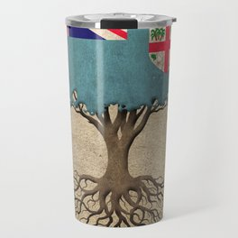Vintage Tree of Life with Flag of Fiji Travel Mug