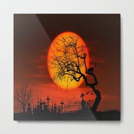 Sunset Silhouette Graveyard Metal Print