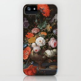 Abraham Mignon - Still life with flowers and a watch - 1660/1679 iPhone Case