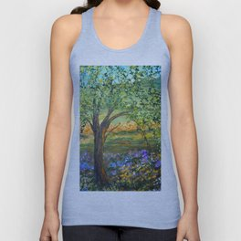 Serene Meadow, Impressionism Landscape Unisex Tank Top