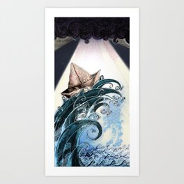 Origami Boat on a Wave Art Print