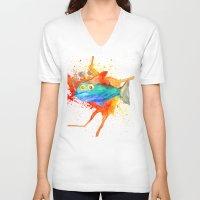 smoking V-neck T-shirts featuring Smoking fish by gunberk