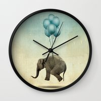 dumbo Wall Clocks featuring Dumbo by Vin Zzep