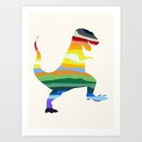 trex Art Prints featuring Rainbow TRex 15 by Precious Beast
