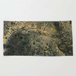 Fluid Black And Gold Acrylic Pour Painting Beach Towel