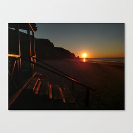 Shack by the sea at sunrise Canvas Print