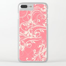 Pink swirls. Vector floral deisgn Clear iPhone Case
