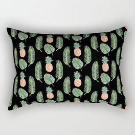 PINEAPPLES AND LEAVES BLACK Rectangular Pillow