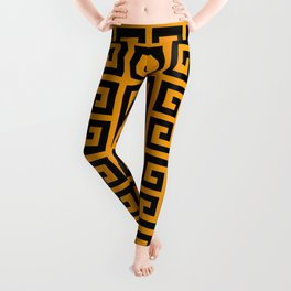 Greek Key (Orange & Black Pattern) Leggings