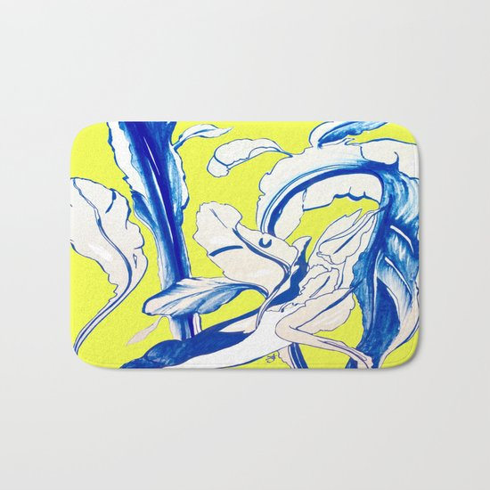 Plant in Blue Marker - Leaf of Life Miracle Leaf - Yellow Bath Mat