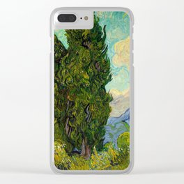 Cypresses Oil Painting Landscape Vincent van Gogh Clear iPhone Case