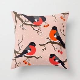 Winter birds red Bullfinches on snowy berry branches pastel peach Throw Pillow