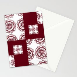 Deep Red Patch-Work Mandala Textile Stationery Cards