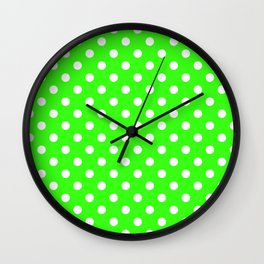 Small Polka Dots - White on Neon Green Wall Clock