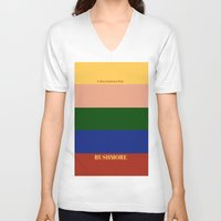 rushmore V-neck T-shirts featuring Rushmore minimalist poster by cinemaminimalist