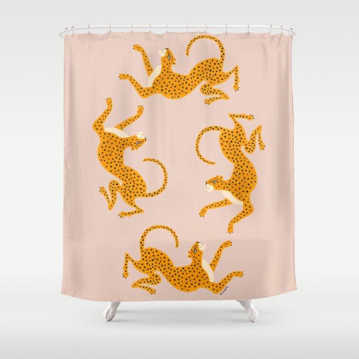 Leopard Race - pink Duschvorhang