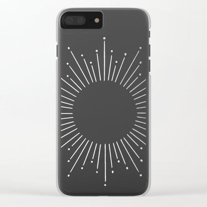 Sunburst Moonlight Silver on White Clear iPhone Case