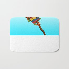 Tree Frog Playing Acoustic Guitar with Flag of Colombia Bath Mat