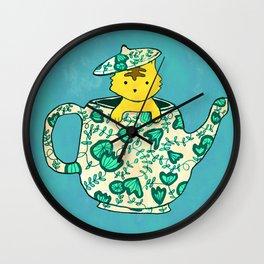 Dinnerware sets - Kitten in a teapot Wall Clock
