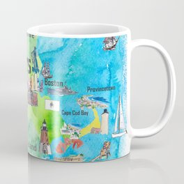 USA Massachusetts State Travel Poster Map with Touristic Highlights Coffee Mug