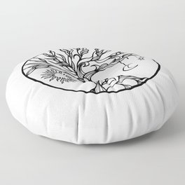 black and white tree of life with hanging sun, moon and stars I Floor Pillow
