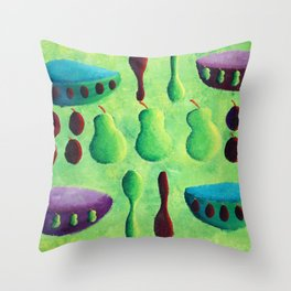 Pears and Plums Throw Pillow
