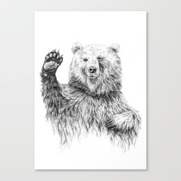 Waving Bear Canvas Print