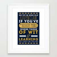 ravenclaw Framed Art Prints featuring Ravenclaw by Dorothy Leigh