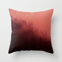 0366 Chocolate Forest with Living_Coral Fog, AK Throw Pillow