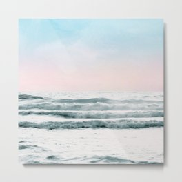 Pink Sky Ocean View Metal Print
