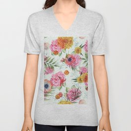 Colorful Flowers Pattern With Pink Roses Unisex V-Neck