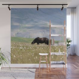 Watercolor Horse 16, Icelandic Pony, Höfn, Iceland, Head Down Mouth Open Wall Mural