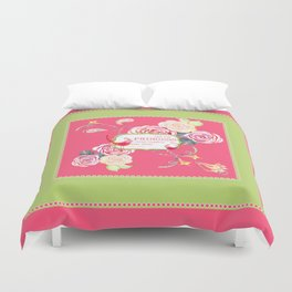 Princess Happily Ever After Modern Birds Floral  Duvet Cover