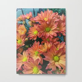 Cream and Pink watered Flowers Metal Print